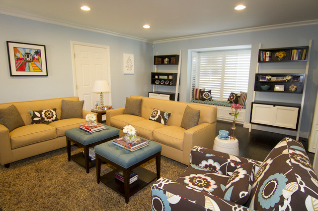 Upholstered Ottoman Family Room Contemporary with Angled Book Case Blue and Tan Blue Ottomans Ceiling