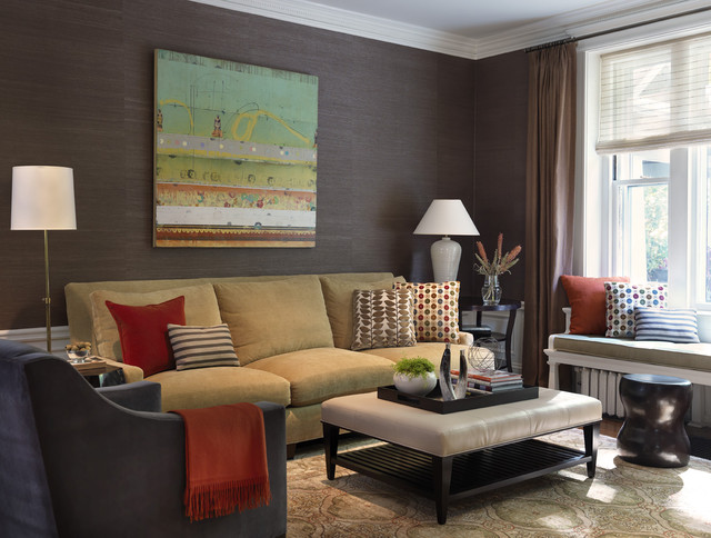 Upholstered Ottoman Family Room Traditional with Area Rug Crown Molding Curtains Decorative Pillows Drapes Grey