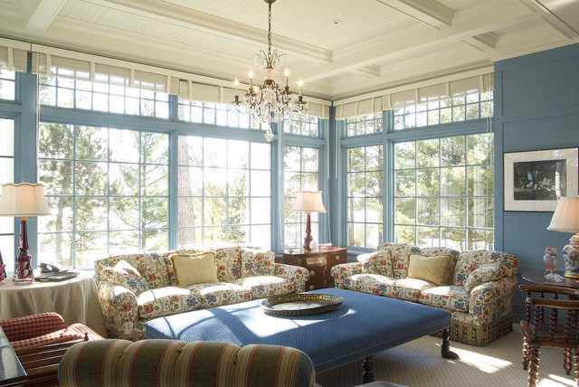 Upholstered Ottoman Family Room Victorian with Airy Beadboard Blue Walls Coffered Ceiling Floral Sofa Sunroom