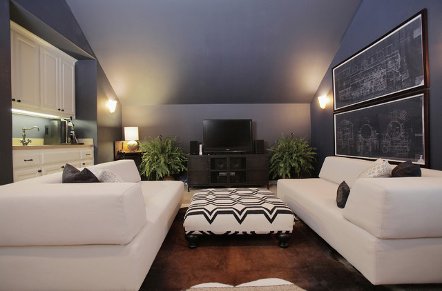 Upholstered Ottoman Home Theater Eclectic with Artwork Attic Blueprints Dark Walls Ferns Navy Blue Walls1