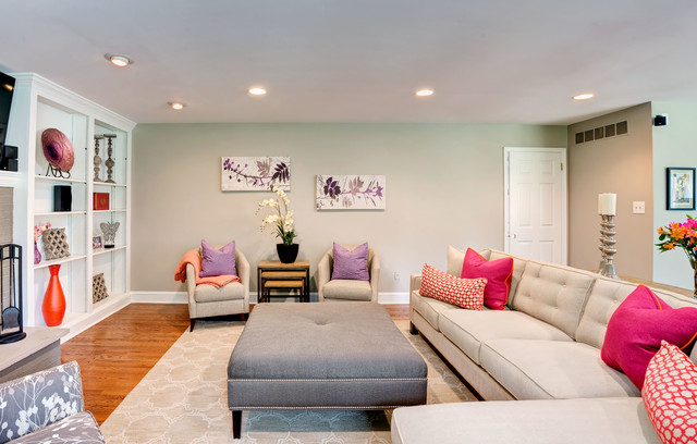 upholstered ottoman Living Room Contemporary with area rug baseboards beige couch built-in shelves built-ins ceiling