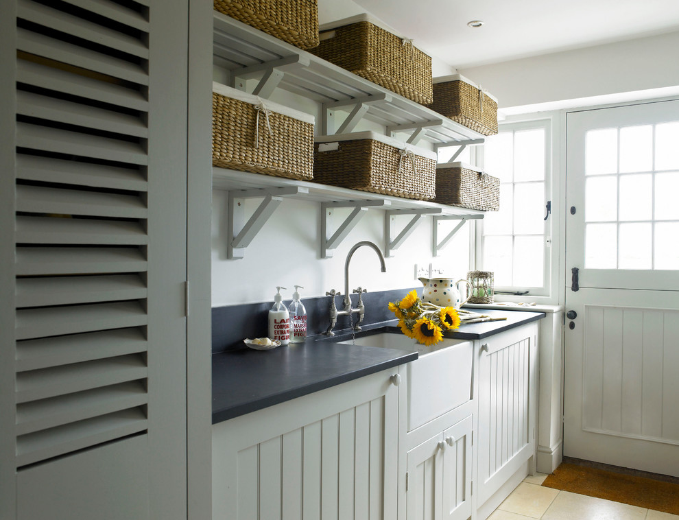 Utility Sink With Cabinet Laundry Room Farmhouse Back Door Baskets Butler Coastal Home
