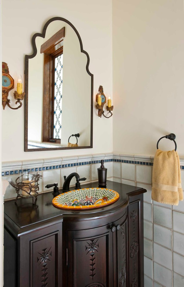 Uttermost Mirrors Powder Room Mediterranean with Old Spanish Style Painted Sink Spanish Style