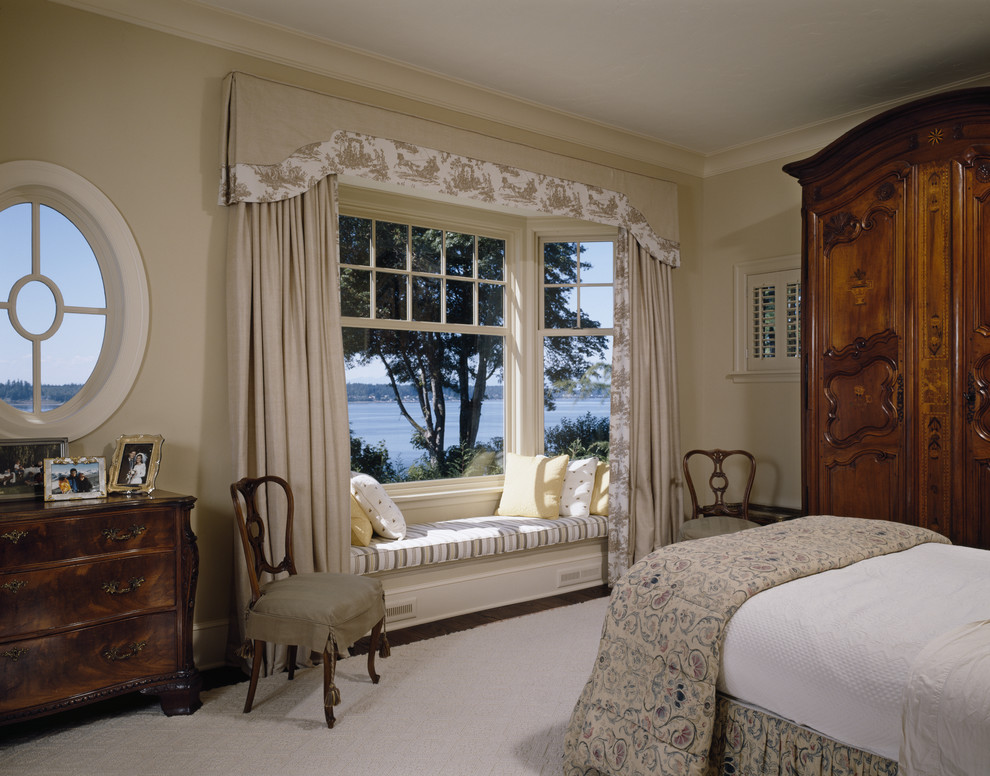 Valance Ideas Bedroom Traditional with Armoire Bay Window Beige Wall Closet Crown