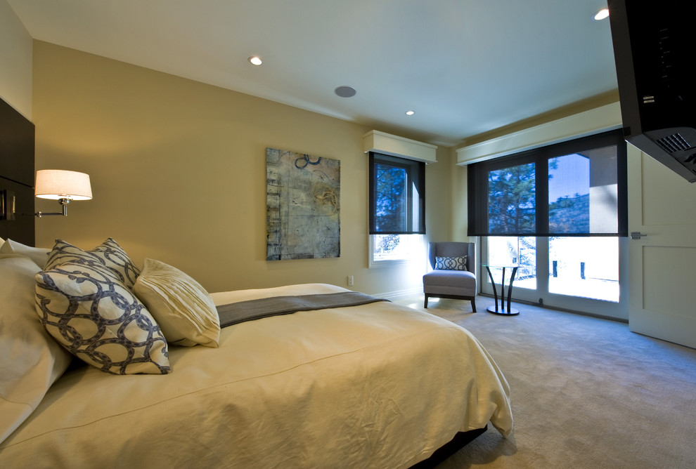 Valences Bedroom Contemporary with Art Bed Beige Carpeting Dark Sheer Roman
