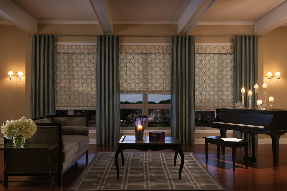 valences Living Room Traditional with curtains drapery drapes fabric shades geometric print