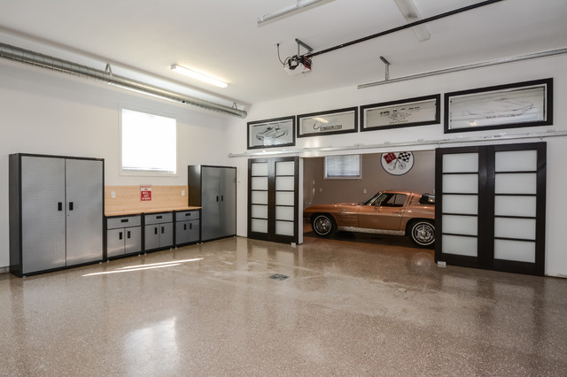 Valspar Garage Floor Coating Garage and Shed Contemporary with Corvette Custom Garage Exposed Ducts Exposed Ductwork Frosted Barn