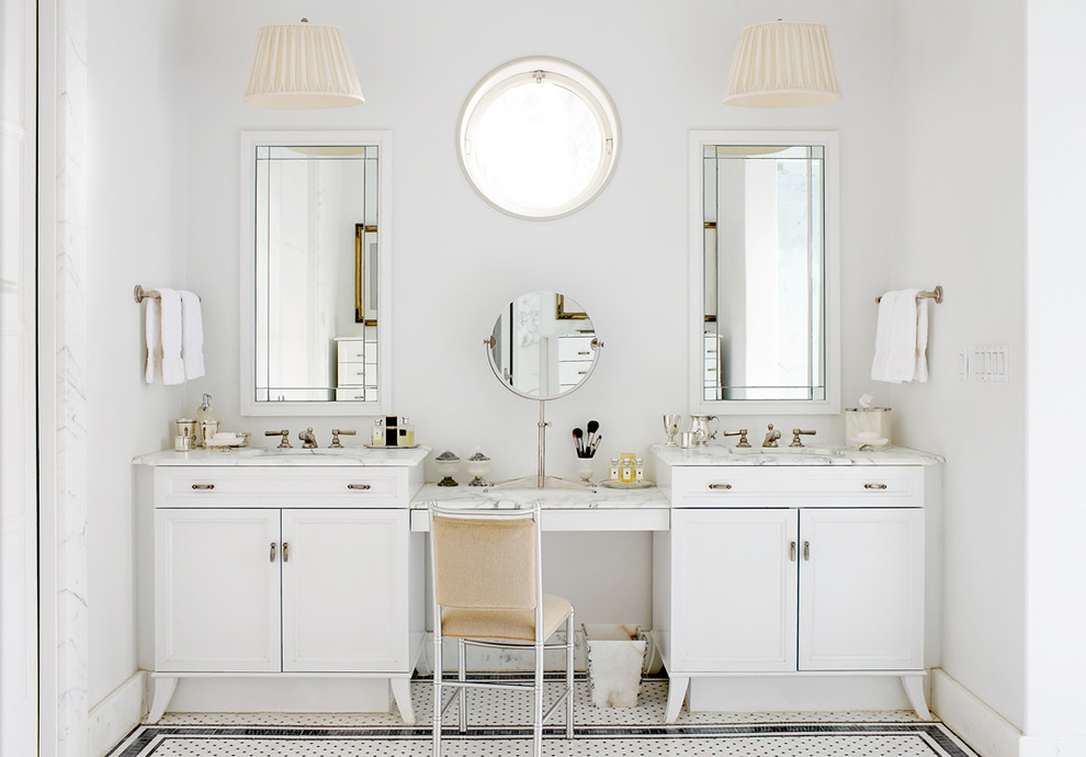 Vanity Dressing Table Bathroom Traditional with Beige Chair Circular Window Geometric Shapes His