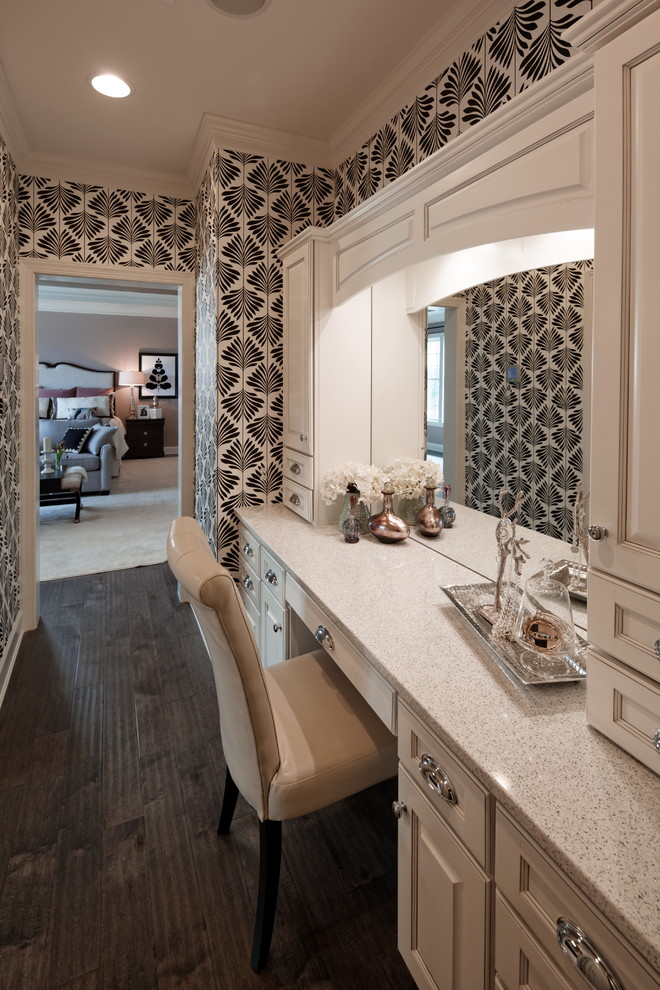 Vanity Dressing Table Bathroom Traditional with Black and White Wallpaper Dressing Table Graphic