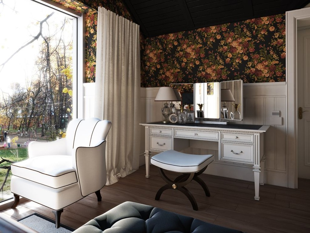 Vanity Dressing Table Bedroom Transitional with Curtains Dark Ceiling Drapes Dressing Table Empire