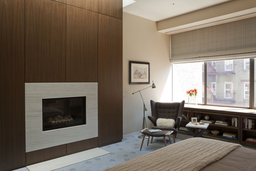 ventless fireplace Bedroom Contemporary with armchair bed bookcase under window bookshelves under