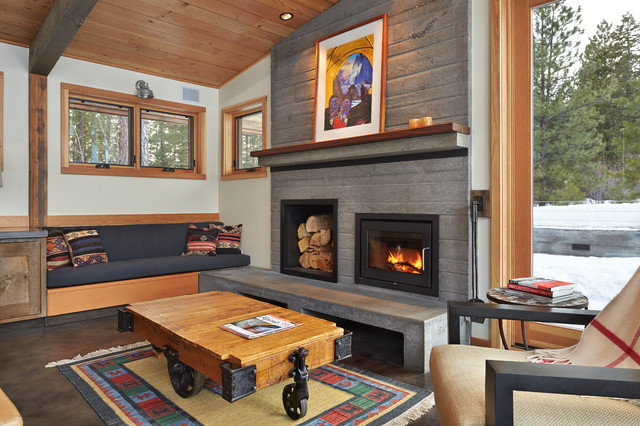 ventless fireplace insert Living Room Contemporary with area rug armchair artwork beam built-in bench cabin cement