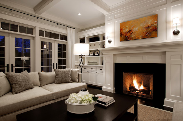 Ventless Fireplace Insert Living Room Traditional with Coffee Table Coffered Ceiling Curtain Panels Dark Stained Wood