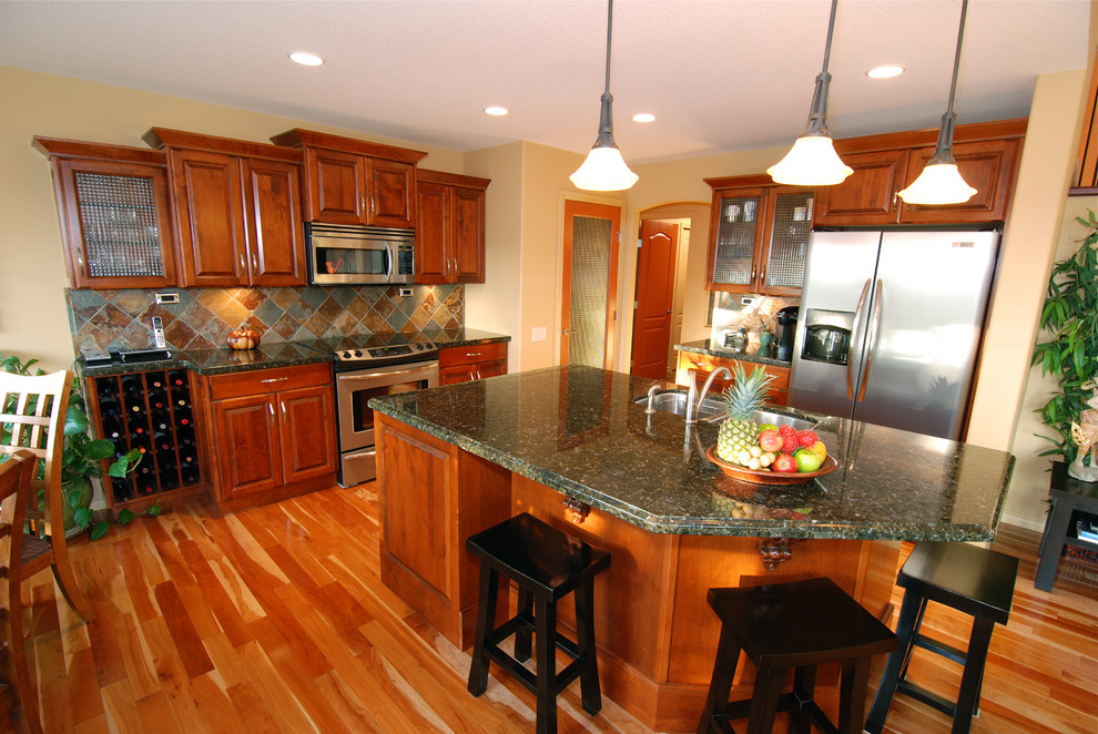 verde butterfly granite Kitchen Traditional with granite island maple raised panel traditional