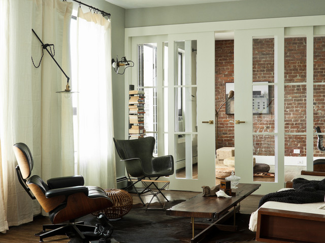 Vertical Blinds for Sliding Glass Doors Living Room Modern with Brick Wall Cowhide Rug Curtains Drapes Exposed Brick Leather