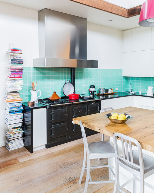 Vertical Bookshelf Kitchen Eclectic with Aga Blue and Black Colour Cookbooks Exposed Wood Exposed1
