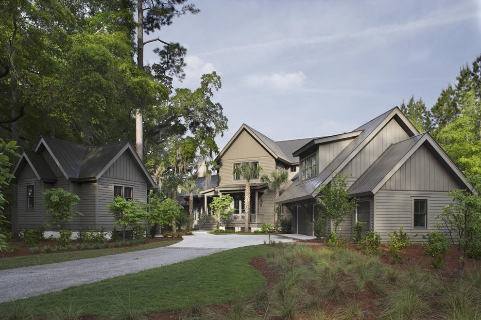 vertical siding Exterior Traditional with board and batten cabin Compound dormer windows