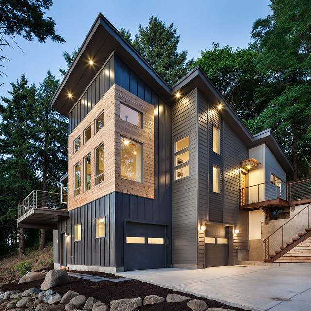 Vertical Vinyl Siding Exterior Contemporary with Accent Lighting Awning Bridge Cable Rail Canopy Cedar Clean
