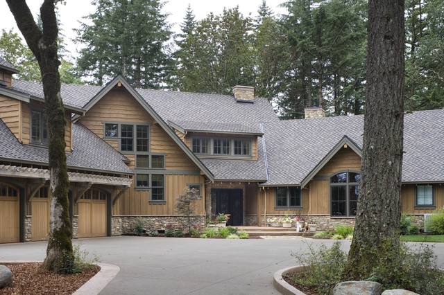 Vertical Vinyl Siding Exterior Rustic with Board and Batten Cabin Dormer Windows Entrance Entry Forest