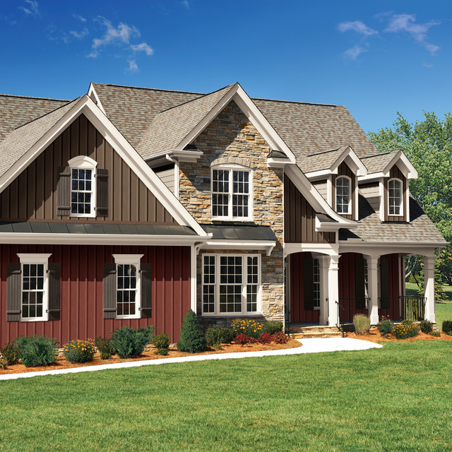 vertical vinyl siding Exterior Traditional with board and batten covered porch dormer windows landscpaing shingle