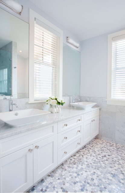 Vessel Faucets Bathroom Beach with Double Vanity Knob Pulls Tile Wainscoting Two Sinks Vessel