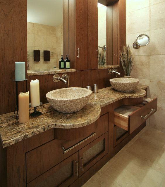 Vessel Faucets Bathroom Modern with Alcove Brushed Metal Candle Custom Cabinets Custom Woodwork Dark