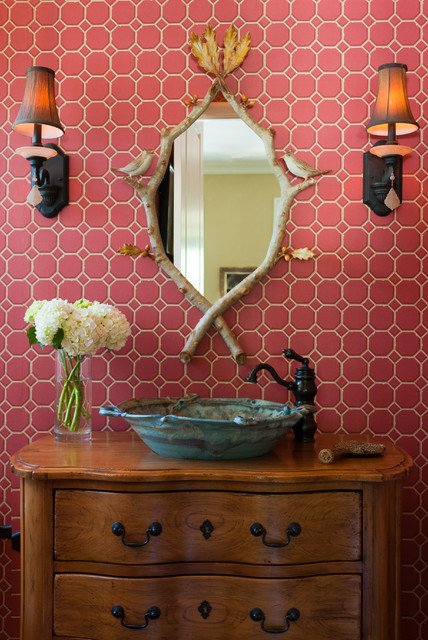Vessel Faucets Powder Room Traditional with Bamboo Birds Faux Bois Mirror Floral Arrangement Pink Tile