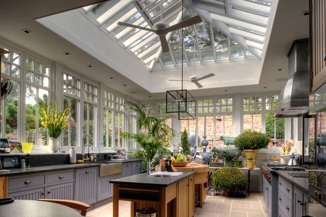 Vigo Sinks Kitchen Traditional with Apron Sink Bead Board Ceiling Fan Conservatory Cup Drawer