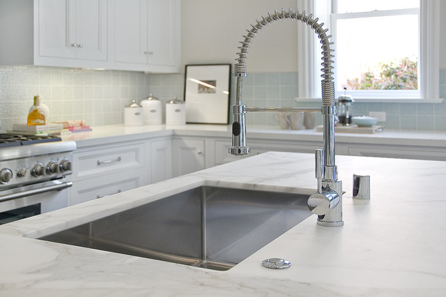 Vigo Sinks Kitchen Traditional with Contrasting Cabinetry Countertops Dark Cabinetry Faucet Floor Color Kitchen