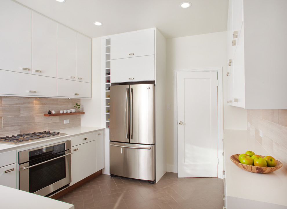 Viking Gas Cooktop Kitchen Contemporary with Built in Storage Ceiling Lighting Herringbone Pattern