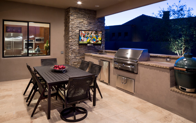 viking outdoor grill Patio Contemporary with balcony BBQ black patio furniture cream tile floor gray