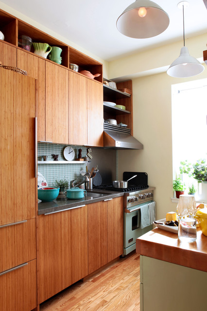 viking stove Kitchen Eclectic with bamboo cabinets Cabinetry floating shelves hanging lights kitchen tile