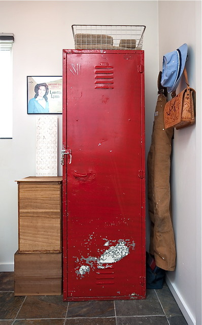 Vintage Lockers Entry Shabby Chic with Baseboard Blinds Coat Hook Distressed Red Storage Locker Tile