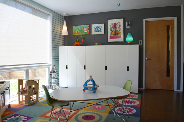 Vintage Lockers Kids Midcentury with Area Chairs Colorful Carpet Tiles Colorful Flor Tiles Dallas