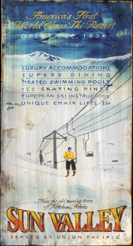 Vintage Ski Posters with Signs Vintage Wall Decor Wooden 7