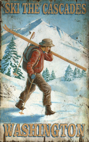 Vintage Ski Posters with Signs Vintage Wall Decor Wooden 8