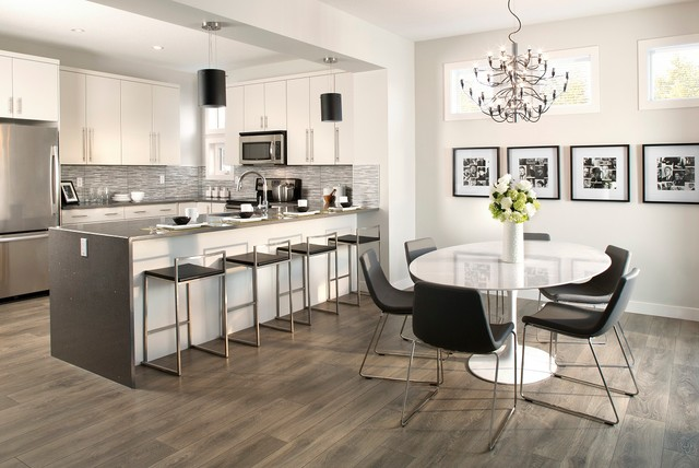 Vinyl Flooring Rolls Dining Room Contemporary with Black Pendant Lights Chandelier Counter Stools Gray Counters Light