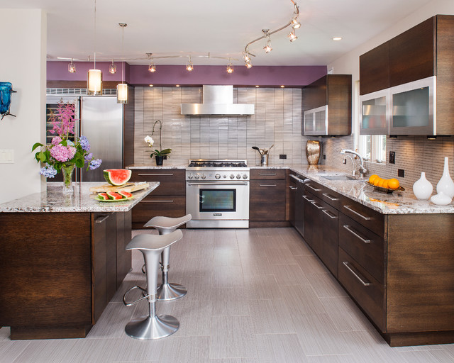 vinyl flooring rolls Kitchen Contemporary with curved track lights flip-up cabinets kitchen island modern bar