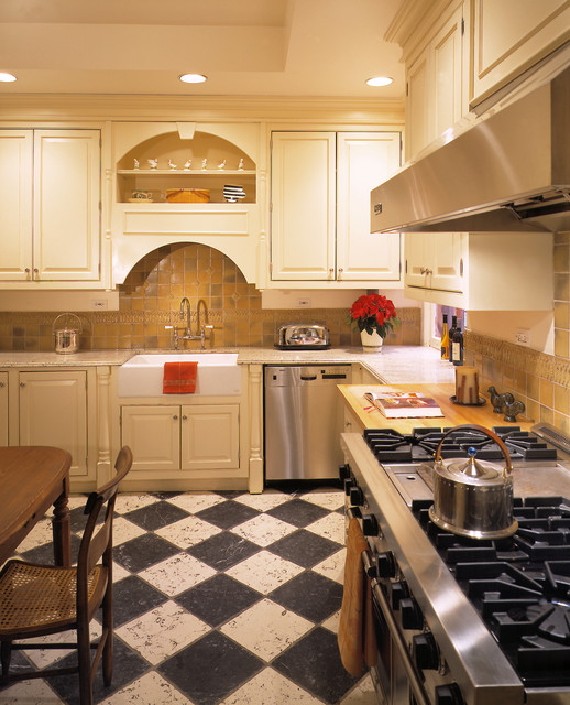 Vinyl Flooring Rolls Kitchen Traditional with Apron Sink Bridge Faucet Cane Chair Ceiling Lighting Checker