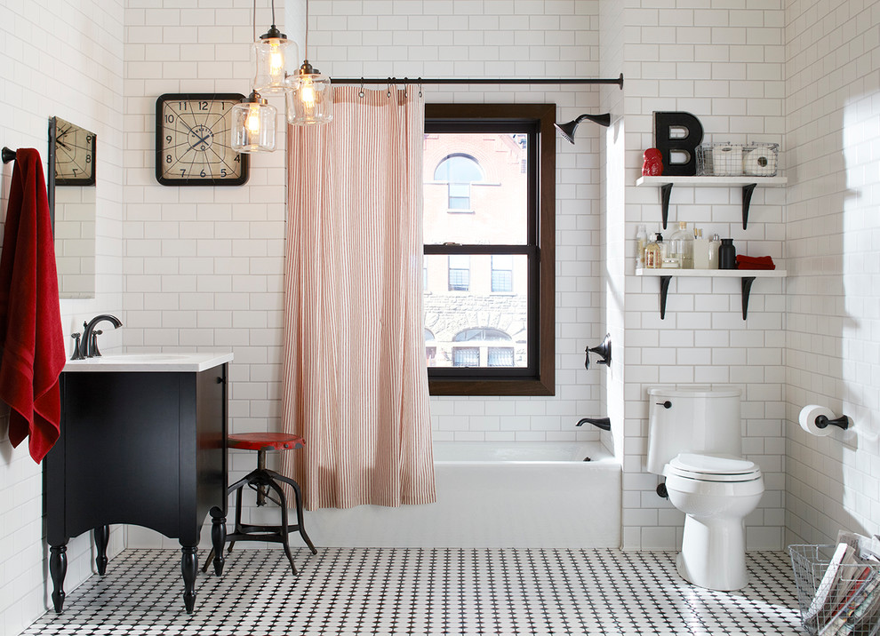 Vinyl Plank Flooring Bathroom Eclectic with 3x6 Subway Tile Black White and Red