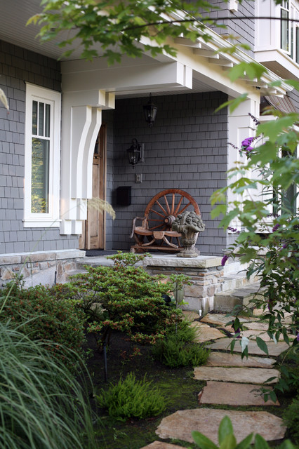 Vinyl Shake Siding Entry Traditional with Awning Front Door Garden Statue Gray Exterior Grey Exterior