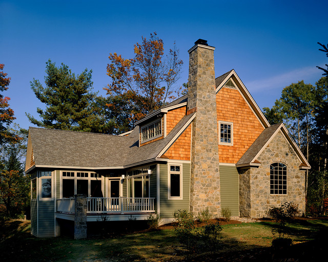 Vinyl Shake Siding Exterior Rustic with Balustrade Cottage Deck French Doors Green Handrail Rock Chimney