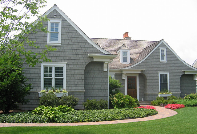 Vinyl Shake Siding Exterior Traditional with Cape Cod Style Dormers Entrance Entry Front Door Grass