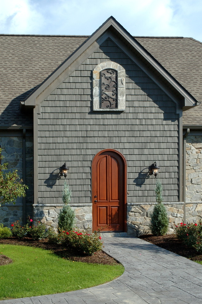 Vinyl Siding Styles Entry Eclectic with Entry Front Door Gray Iron Work Landscaping