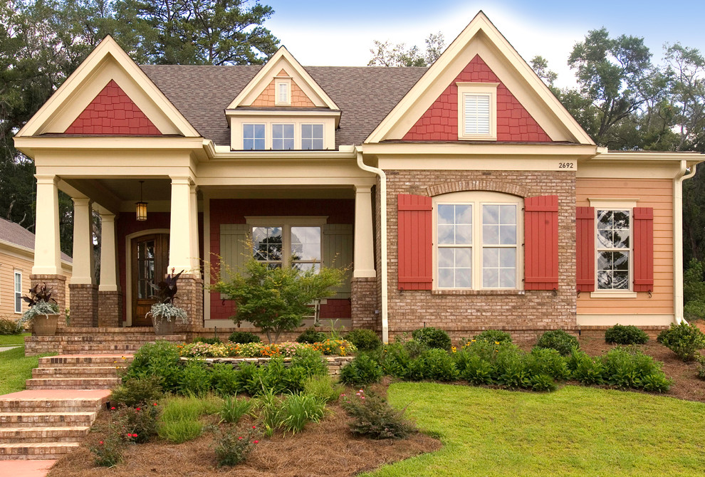 vinyl siding styles Exterior Craftsman with arched door arched window brick steps brick