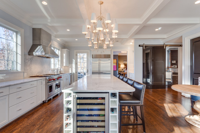 Vissani Beverage Cooler Kitchen Transitional with Chandelier Home Office in a Closet Leather Studded Bar