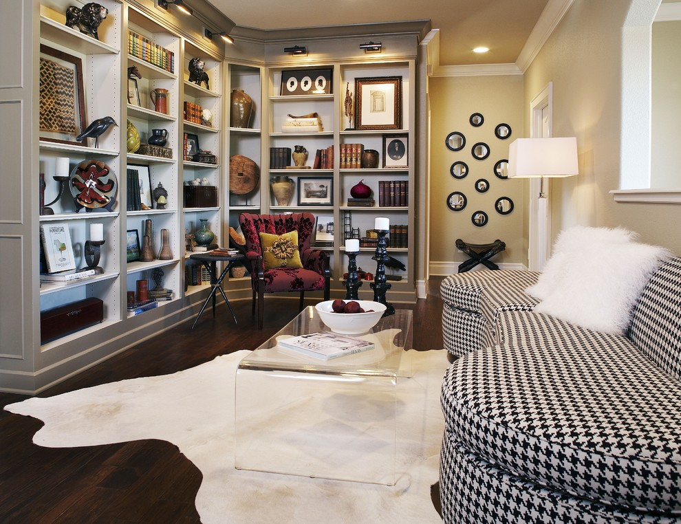 Visual Comfort Sconces Family Room Contemporary with Area Rug Bookcase Bookshelves Built in Shelves