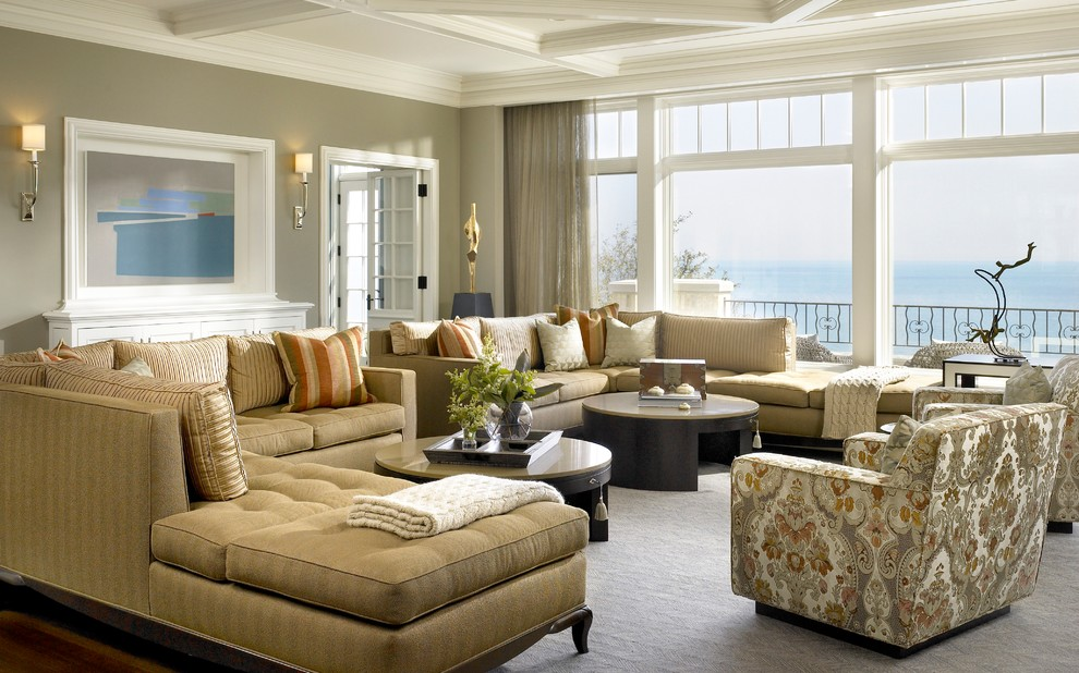 visual comfort sconces Family Room Transitional with 2 coffee tables cable knit throw coffered