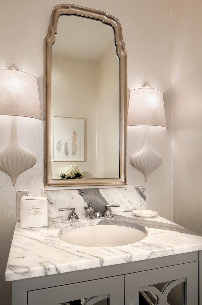 Visual Comfort Sconces Powder Room Transitional with Ceramic Sconce Framed Mirror Marble Vanity Tissue