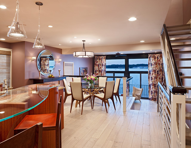Vladimir Kagan Dining Room Contemporary with Beach Living Bleached Wood Floor Glass Countertops Glass Dining